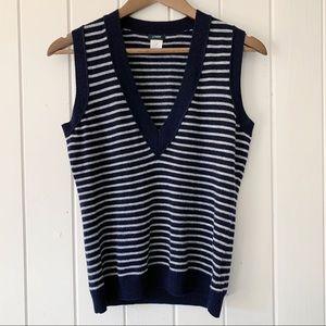 J Crew Navy Blue Wool Cashmere Sweater Vest